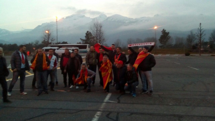 Македонските фанови се собираат пред Рајнпарк Арената во Вадуц