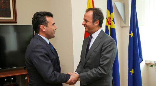 Средба на претседателот на СДСМ Заев со италијанскиот амбасадор Ромео