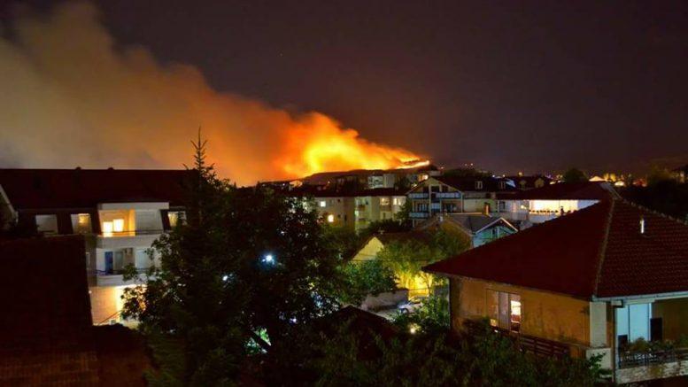 Се уште активен пожарот над Кондово  нема опасност за куќите