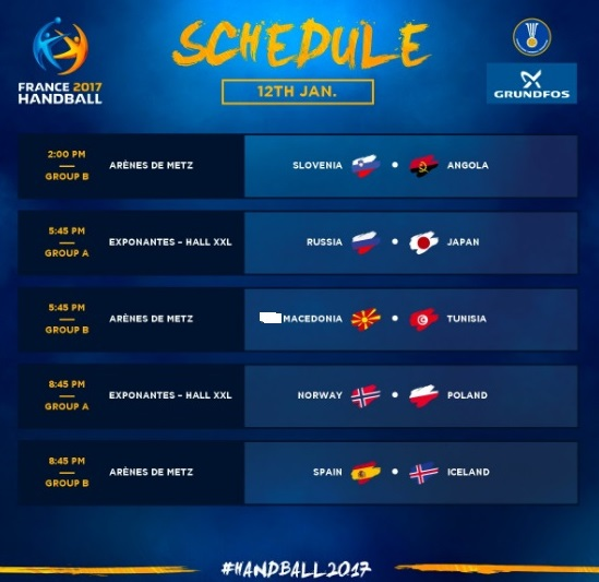 Франција 2017  Распоред за втор ден