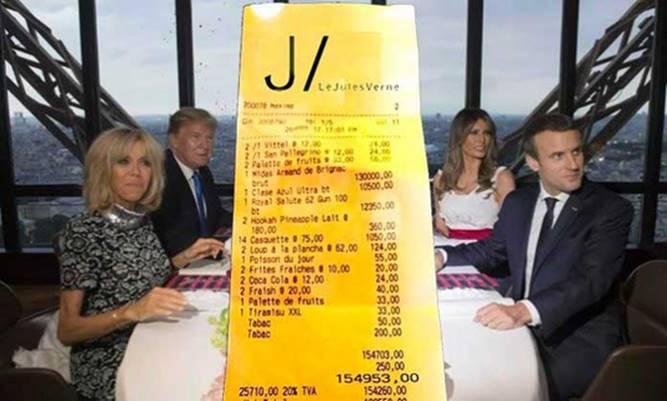 Лажна сметка од вечерата меѓу Макрон и Трамп од 82 000 евра